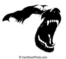 dessiner, linéaire, chien, illustration, peinture, noir, blanc
