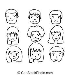 dessiner, main, gens, figure