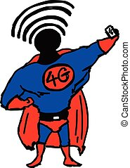 dessiner, sien, superhero, signal, wifi, illustration, main, poitrine, vecteur, 4g, head., doodles