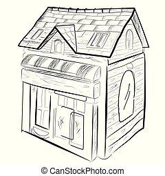 dessiner, sommet, isolé, maison, main, croquis, blanc, vue
