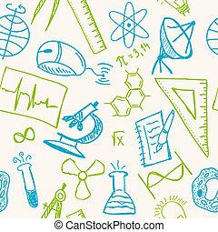 dessins, modèle, seamless, science