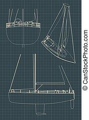 dessins, yacht, voile