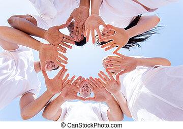 dessous, mains, vue, ensemble, gens