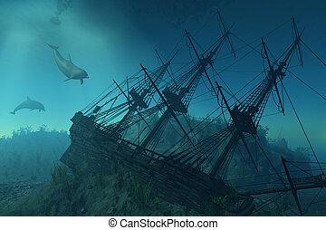 dessous, naufrage, mer