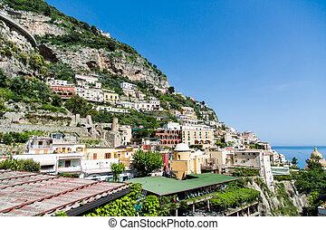 dessous, positano, colline, stationnement