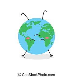 dessus, rigolote, bas, dessin animé, méditer, globe, caractère