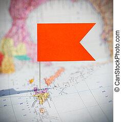 destination, carte, voyage, épingle