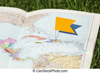 destination, carte, voyage, rouges, épingle
