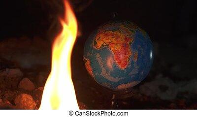 destructed, lot, globe, haut, brûlé, brûler, fin, rochers, plancher