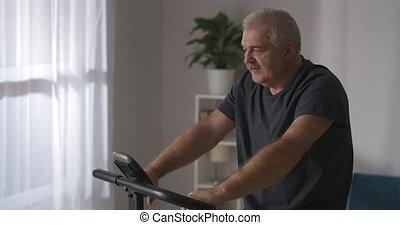 deux âges, stationnaire, homme, formation, portrait, soucier, garder, sur, crise, vélo, santé, maison