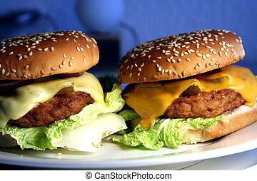 deux, cheeseburgers