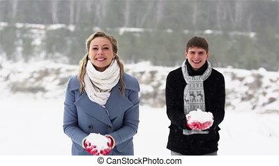 deux, chute neige