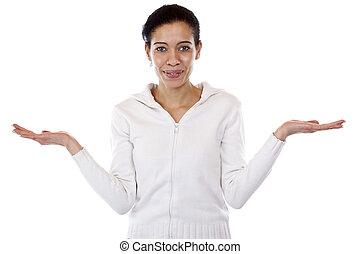 deux, femme, comparaison, tient, mains, présentation, ou