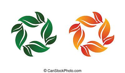deux, feuille, printemps, illustration, vecteur, automne, icône, tas