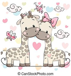deux, girafes, mignon