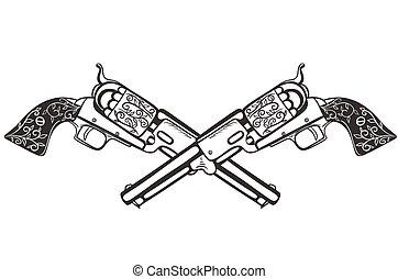 deux, graphics., arrière-plan., pistolets, blanc, vecteur, isoler, traversé