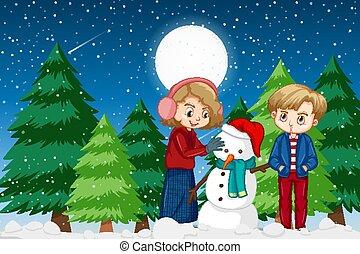 deux, hiver, bonhomme de neige, gosses, scène nuit