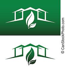 deux, icônes concept, solide, maison, renversé, vert