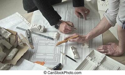 deux mains, fonctionnement, moulure, concepteurs, plan, mâle