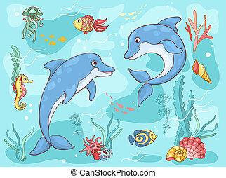 deux, mer, dauphins