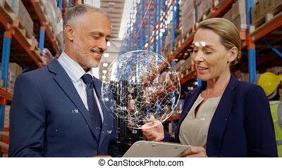 deux personnes, poignée main, business, entre