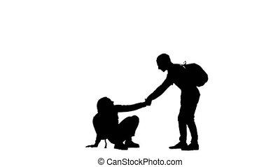 deux, portion, femme, climber., silhouette, homme, randonneurs, aides, climb., entre, main