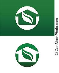 deux, solide, maison, renversé, illustration, vecteur, vert, rond