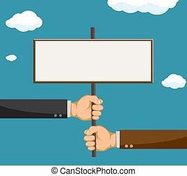 deux, space., signe, hommes affaires, tenue, vide, copie