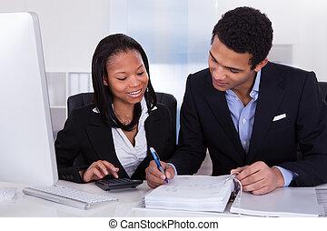 deux, travail, finance, professionnels