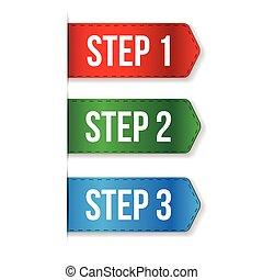 deux, une, trois, étape, vecteur, progrès
