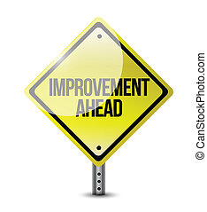 devant, amélioration, route, illustration, signe