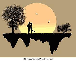 devant, amants, pleine lune
