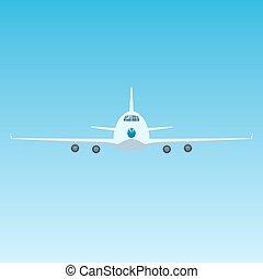 devant, avion, avion, ciel, vue