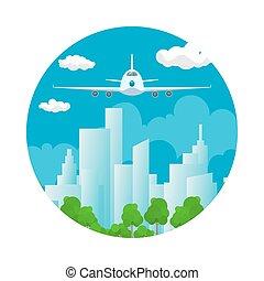devant, avion, icône, vue