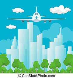 devant, avion, vue
