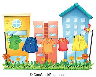 devant, bâtiments, vêtements accrochants
