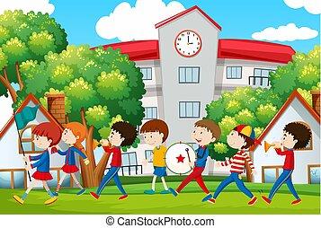 devant, bande, école, marcher