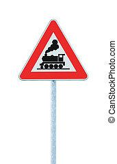 devant, barrière, niveau, signe, sans, porte croisement, chemin fer, ou