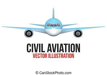 devant, civil, avion, vue