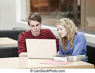 devant, couple, informatique