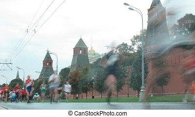 devant, coureurs, kremlin, marathon