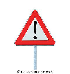 devant, danger, isolé, signe, poteau, autre, avertissement, route