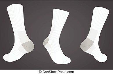 devant, dos, chaussettes, vue