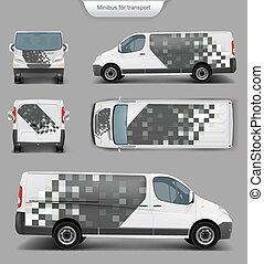 devant, dos, minivan, blanc, vue côté