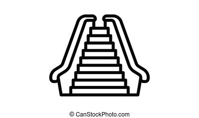 devant, escalator, vue, animation, icône