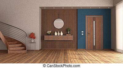 devant, escalier, entrée, porte bois, fermé, maison