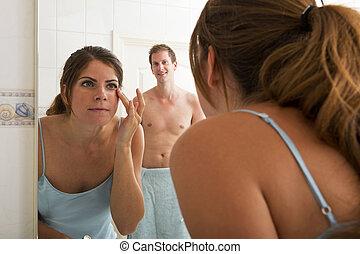 devant, femme, miroir