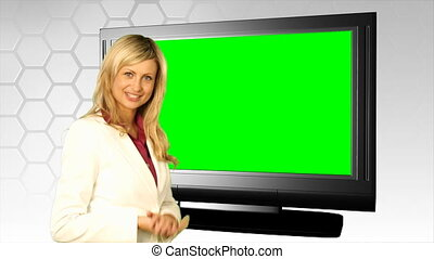 devant, femme, vert, écran