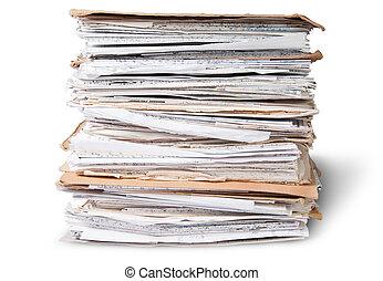 devant, fichiers, vieux, pile