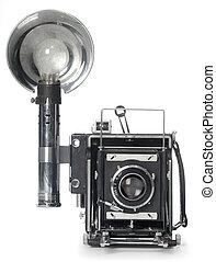 devant, flash, appareil photo, retro, vue